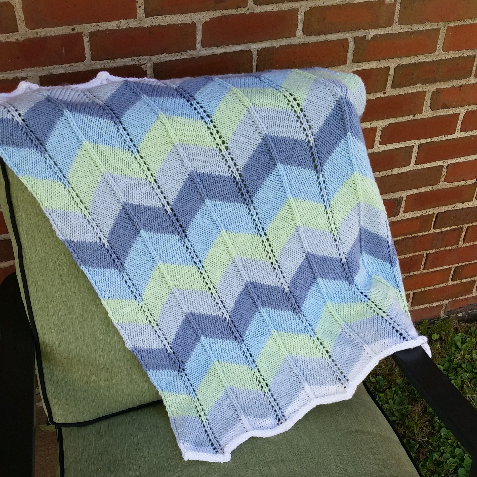 FO\' SHOW – Knitted Chevron Baby Blanket – iKNITiatives: Hand-dyed ...